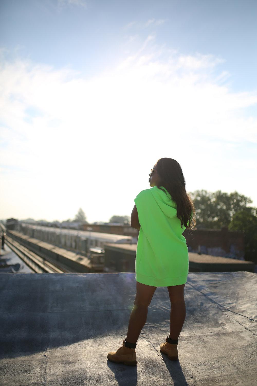 Green Hoodie: H&M    Boots: Timberland    Sunglasses: Mahps Vintage    Photographer: @trustmyeye    xx- Christian Joy