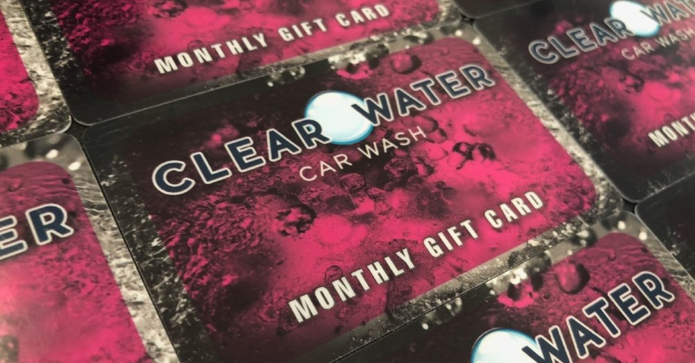 monthly gift card - Load this card with 30, 90, 180 or 365 days of UNLIMITED washes to gift to family & friends. Also makes a great corporate gift!