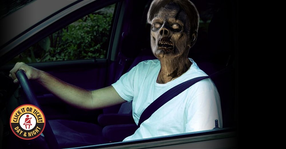 Suggested Message:  Use your seat belt.  Use your braaaains.  So easy a zombie can do it.     Download