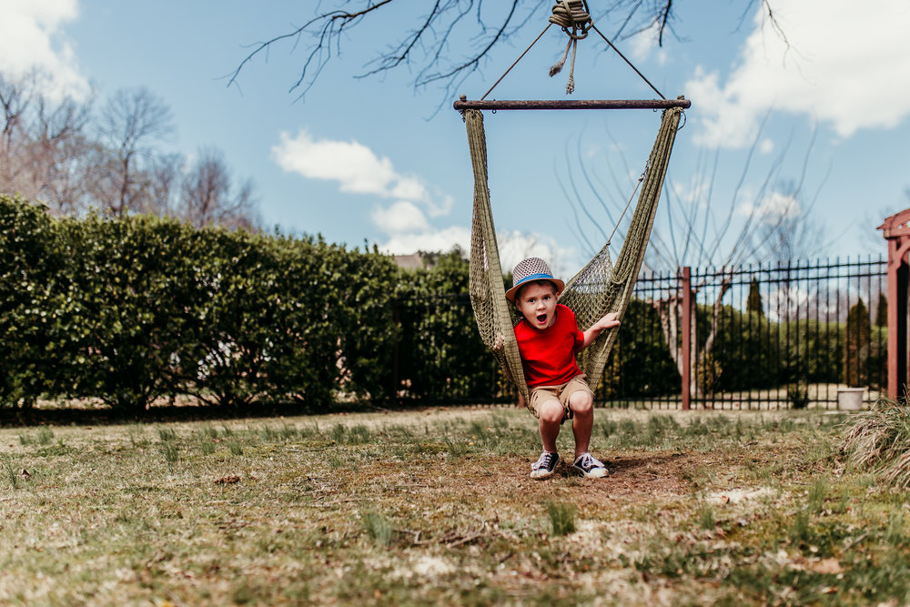 Could not get my boy of this fun little swing and grandma and grandpa's, lol!