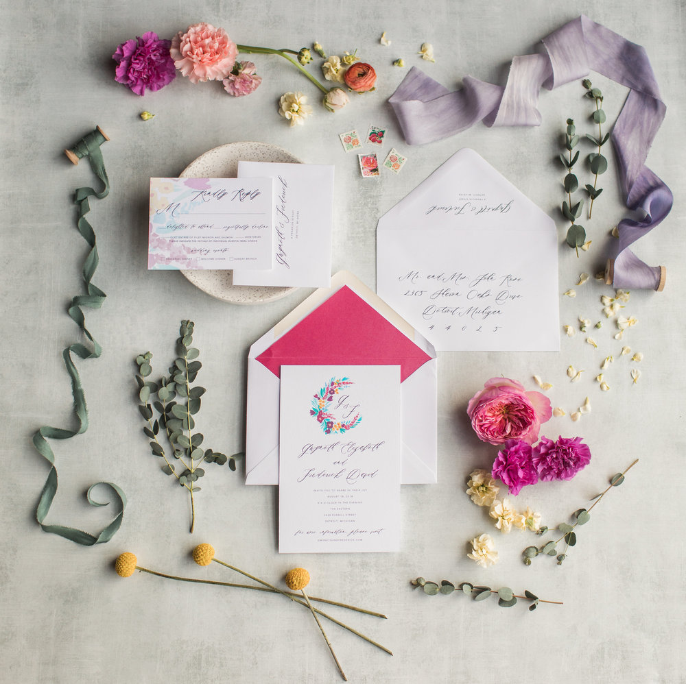 invitations by  Jade Social , photo by  Casey Brodley , ribbon by Rosemarine Textiles, Flowers by  Floral Sense