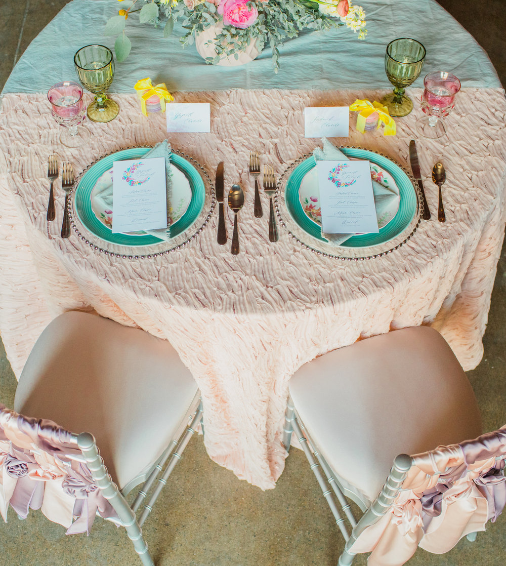 table styling and design by  Pixi Dust Events , table runner, yellow silk ribbon and napkins by Rosemarine Textiles, menu cards by  Jade Social,  flowers by  Floral Sense , photo by  Casey Brodley