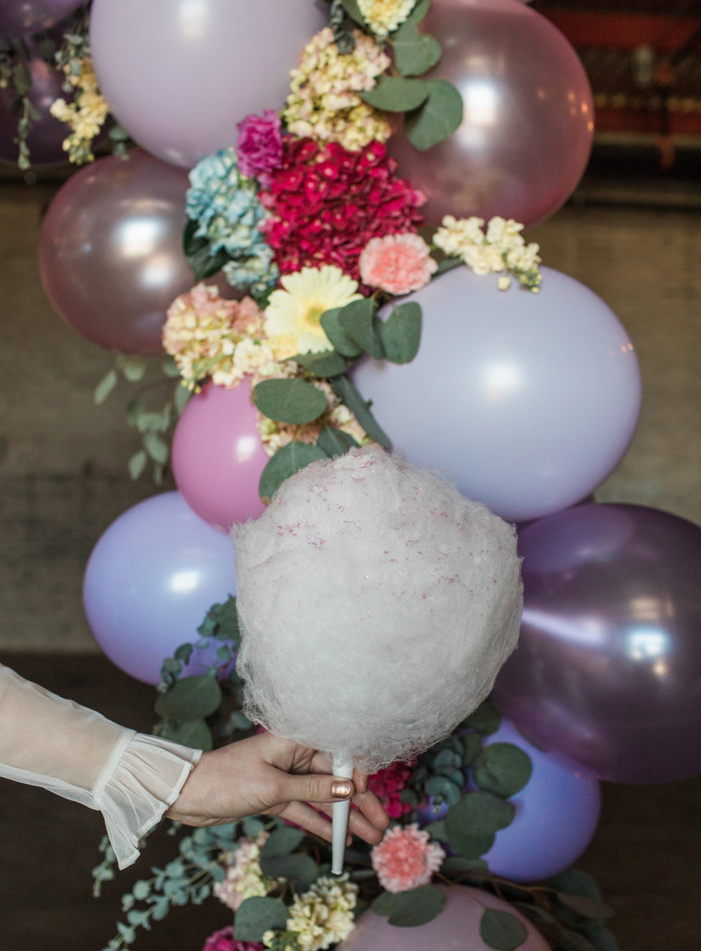 photo by  Casey Brodley,  model Erin Marie, floral design by  Floral Sense , organic cotton candy by  Spun Sugar Detroit