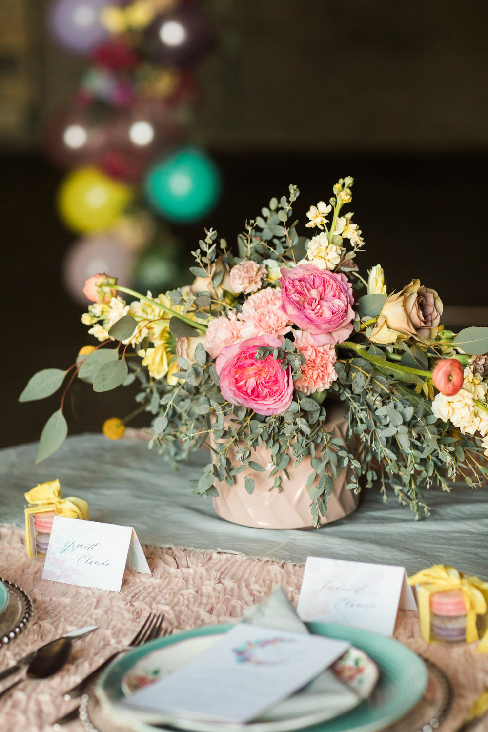 flowers by Floral Sense, menu and place cards by Jade social, photo by Casey Brodley, napkin and ribbon by Rosemarine Textiles, macaroons by Bella e Dolce