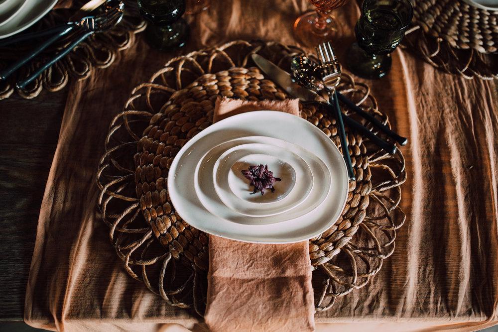 handmade ceramic plates by Make Do Studio, silk chiffon table runner & linen napkins by Rosemarine Textiles