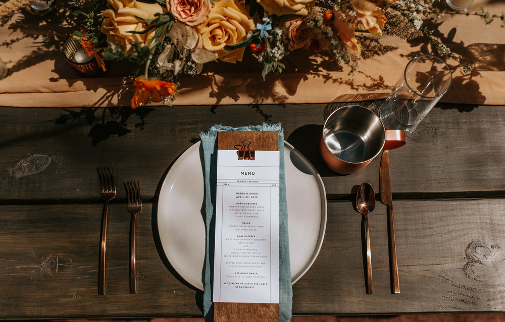 Menu designed by  Invitations By Caitlin . Featuring our  light indigo hemp napkins.