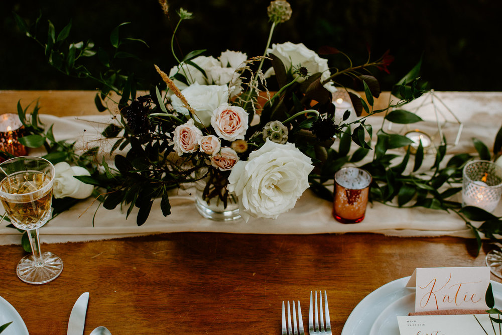 soft blush pink chiffon table runner  // LPF blooms flower arrangement // Annabel Reese calligraphy place cards