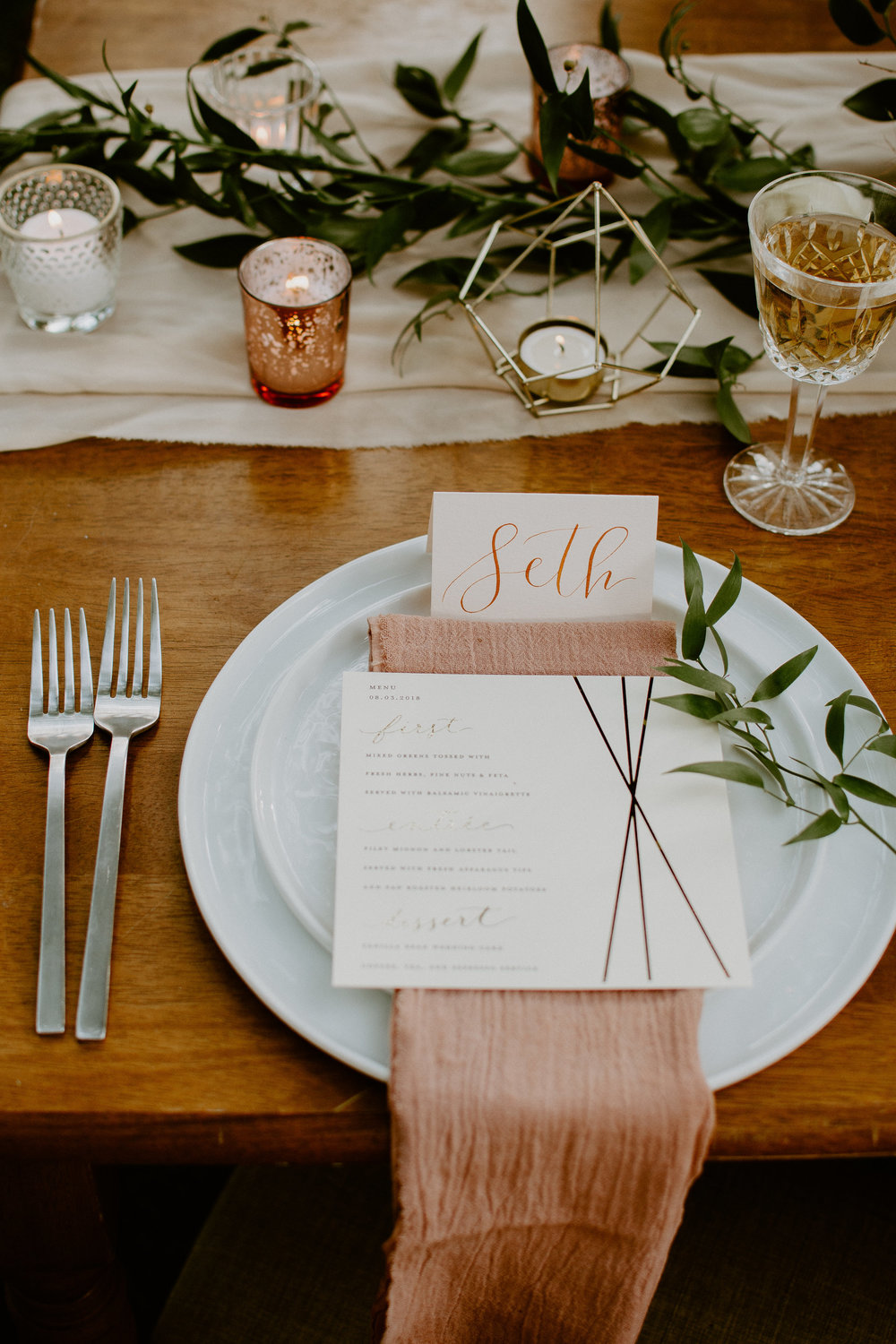 terracotta cotton gauze napkins and blush chiffon table runner