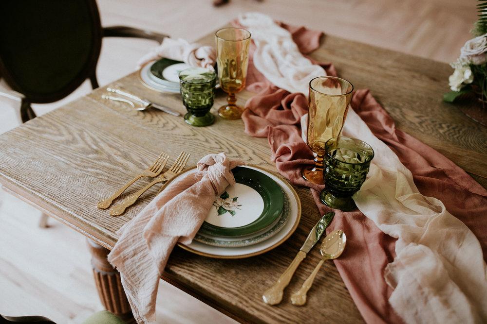 Rosemarine Textiles  blush pink cotton gauze napkins ,  blush pink silk chiffon table runner  and  terracotta silk chiffon table runner