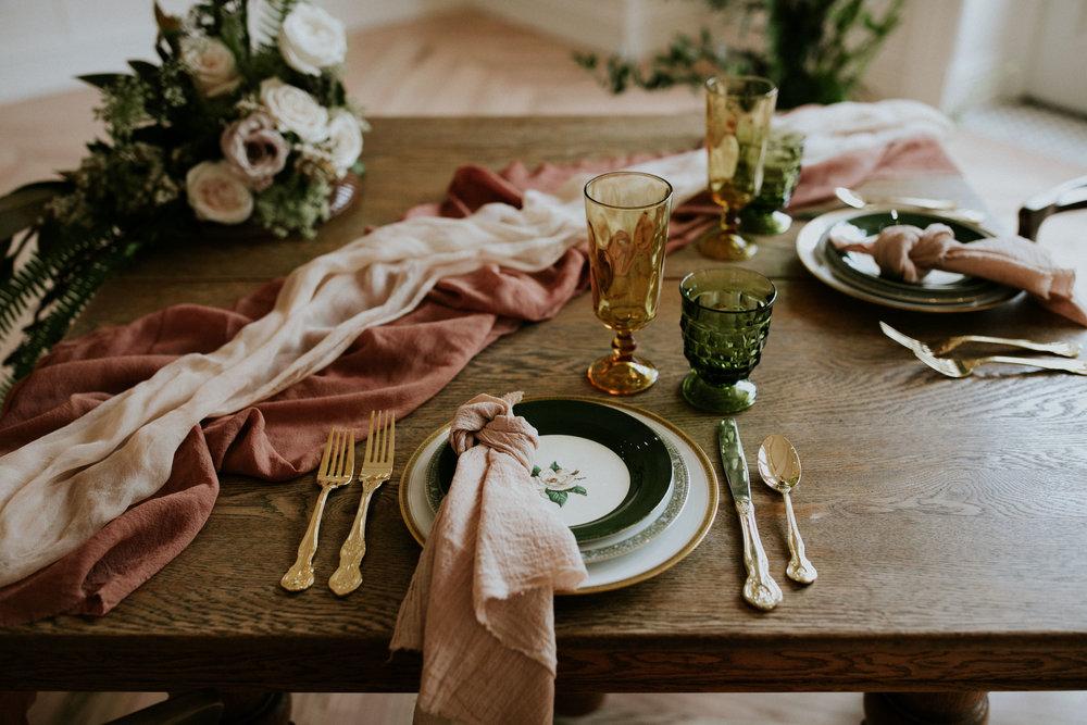 Blush Pink cotton gauze napkin, terracotta silk chiffon table runner, blush silk chiffon table runner, Vintage glassware and flatware:  Gigi & Laclede