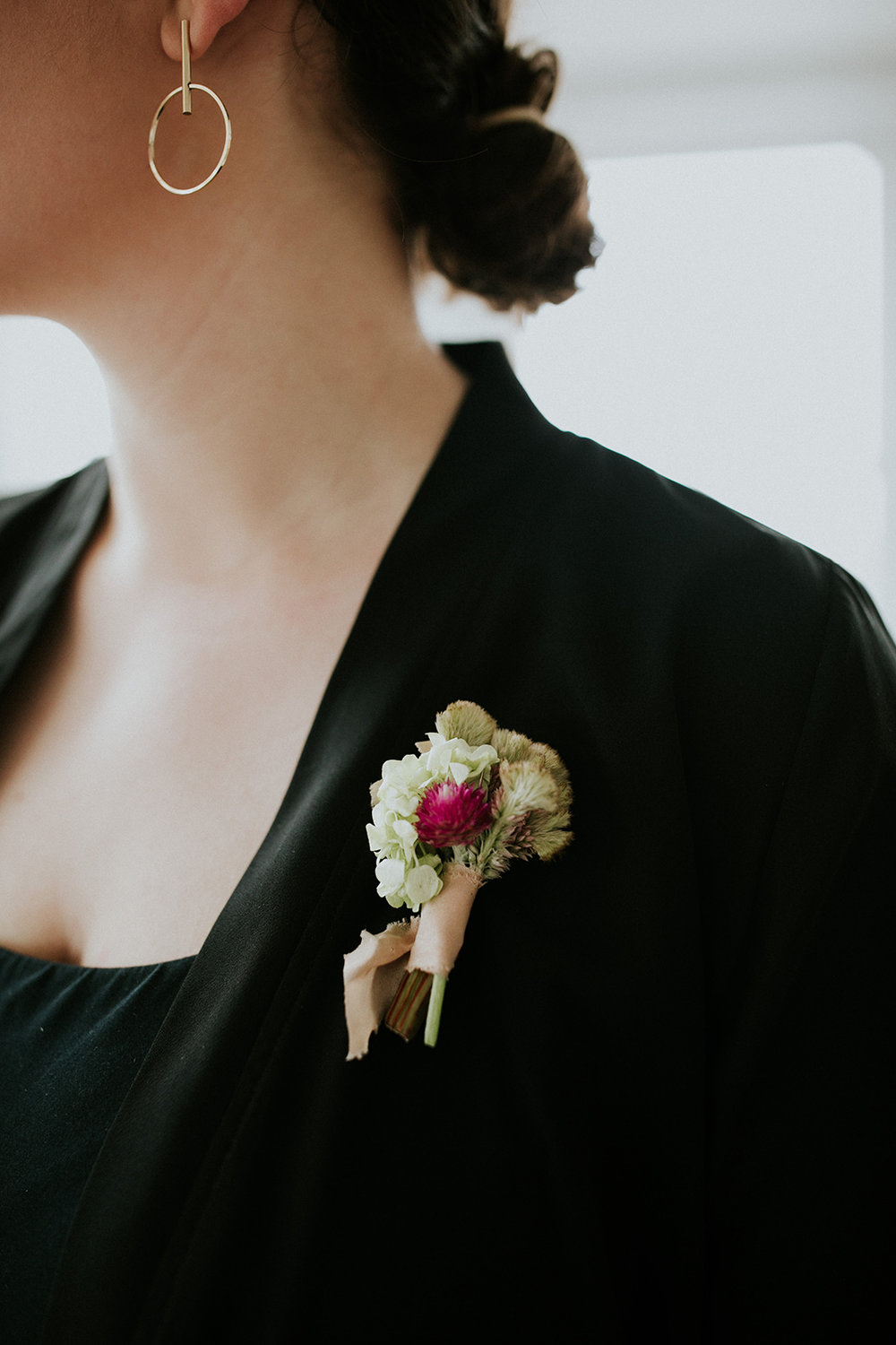 Beautiful boutonnieres made by Lisa of  Pot + Box  for all of the panelists using  Rosemarine Textiles ribbon , as modeled by  The Glossary's   Mandy Lancia .