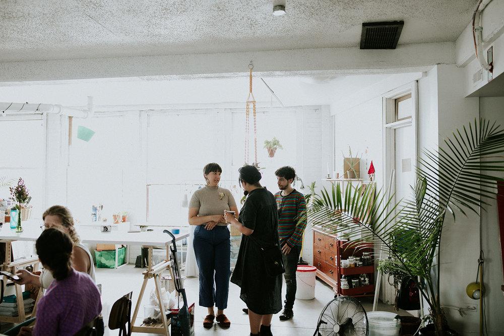 Meghan (me) and Eileen Lee chatting in my studio.