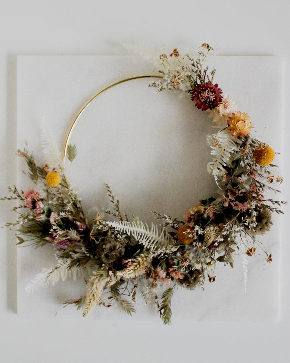 Dried Flower Wreath Willa Rose Floral - $60