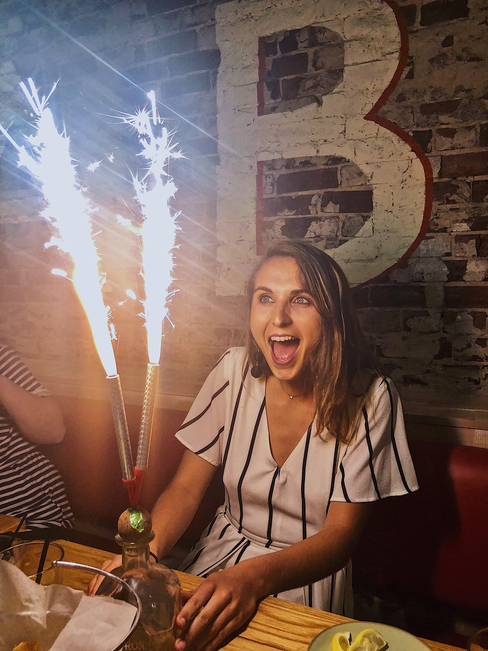 My friends and I went to Babalu's. A supper yummy tex-mex restuarant in downtown Knoxville. They might have the most epic birthday surprise ever for their guests. A patron bottle with massive sparklers blasting out of it. Go if you're in the area! And you too will have this face.