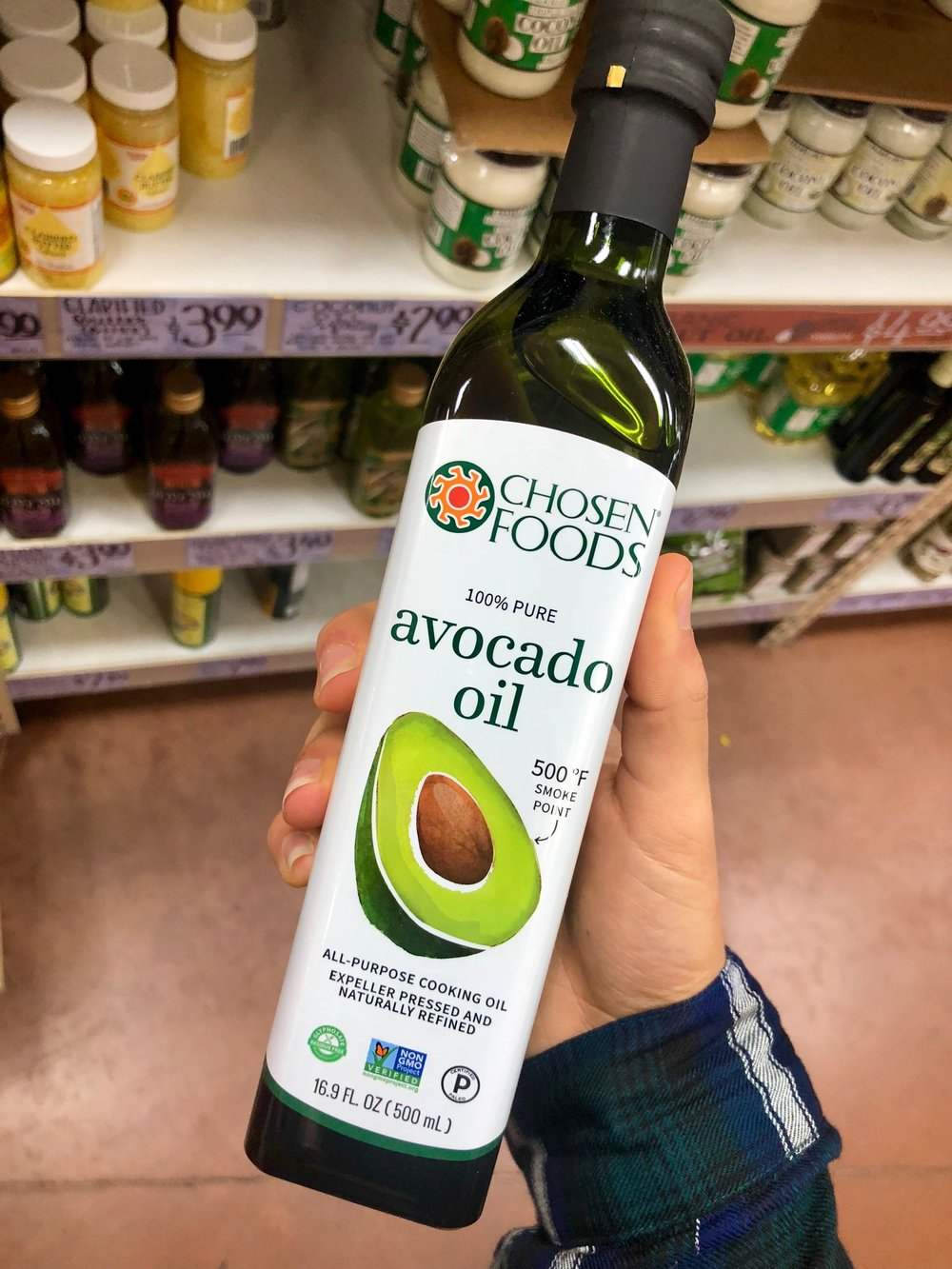 Avocado Oil is a good flavor alternative to olive oil and has a higher smoke point than olive oil, but still an unsaturated fat which is the good kind!! A higher smoke point means it will not burn or smoke until it reaches 520 F ( 271 C ), which is ideal for searing or frying meats and vegetables. Also it's really cheap here compared to regular grocery stores, also can be found at Costco for cheap too!
