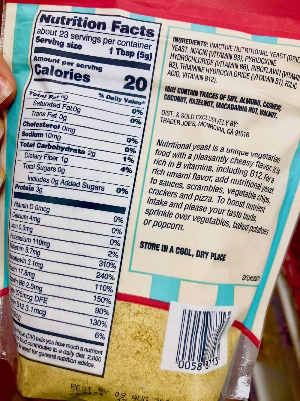 Nutritional Yeast nutriton information and ingredient list.