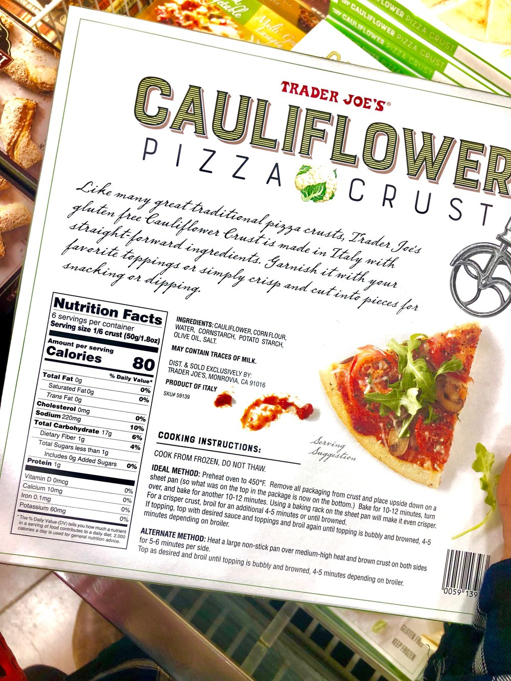 Ingredients and macronutrients for the cauliflower pizza crust.