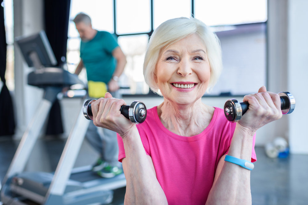 White Senior Citizen Women Excercising