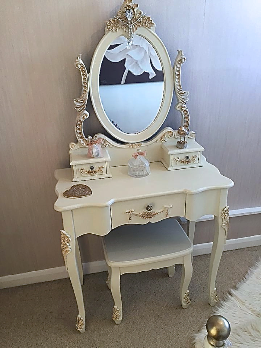 Dressing table repainted using Ivory and Gold. Wallpapered one wall using subtle gold sparkle design.