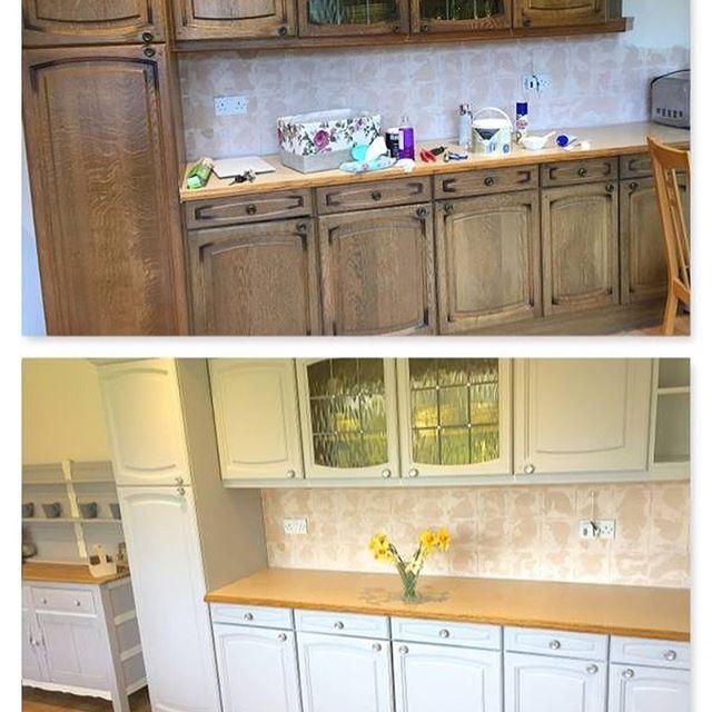 Kitchen units updated for client 👍#kitchen #kitchenpainting #kitchenunit #kitchenupdate #homedecor #homestyle #homestyling #homedecoration #shabbyyhomes #handpaintedfurniture #upcycling #upcycle #upcycledfurniture