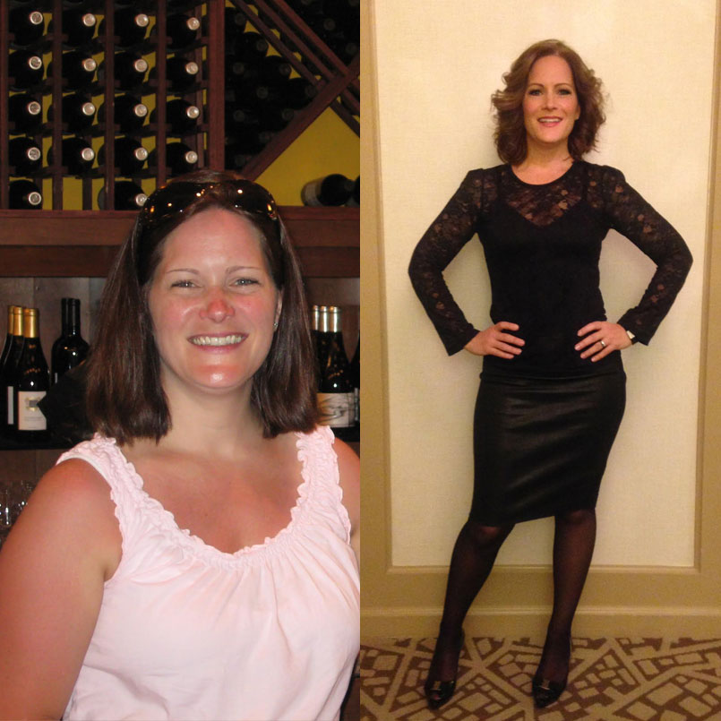 Before and After of Liz's  65 lb weight loss