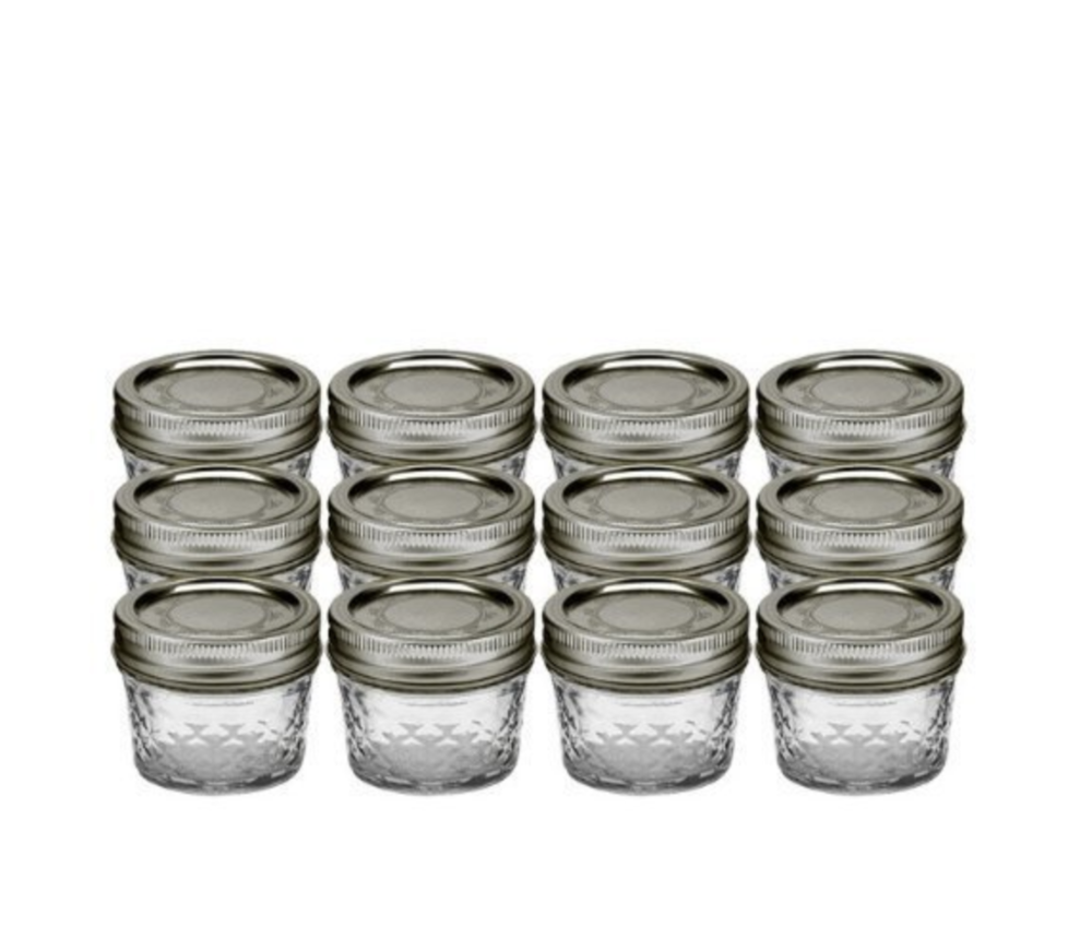 Ball 4-Ounce Quilted Crystal Jelly Jars with Lids
