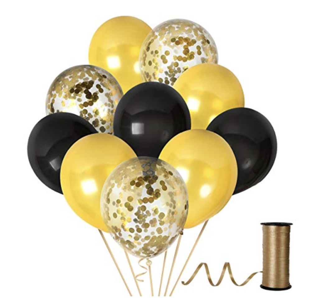 Black & Gold Balloons - $11.49 Amazon Prime