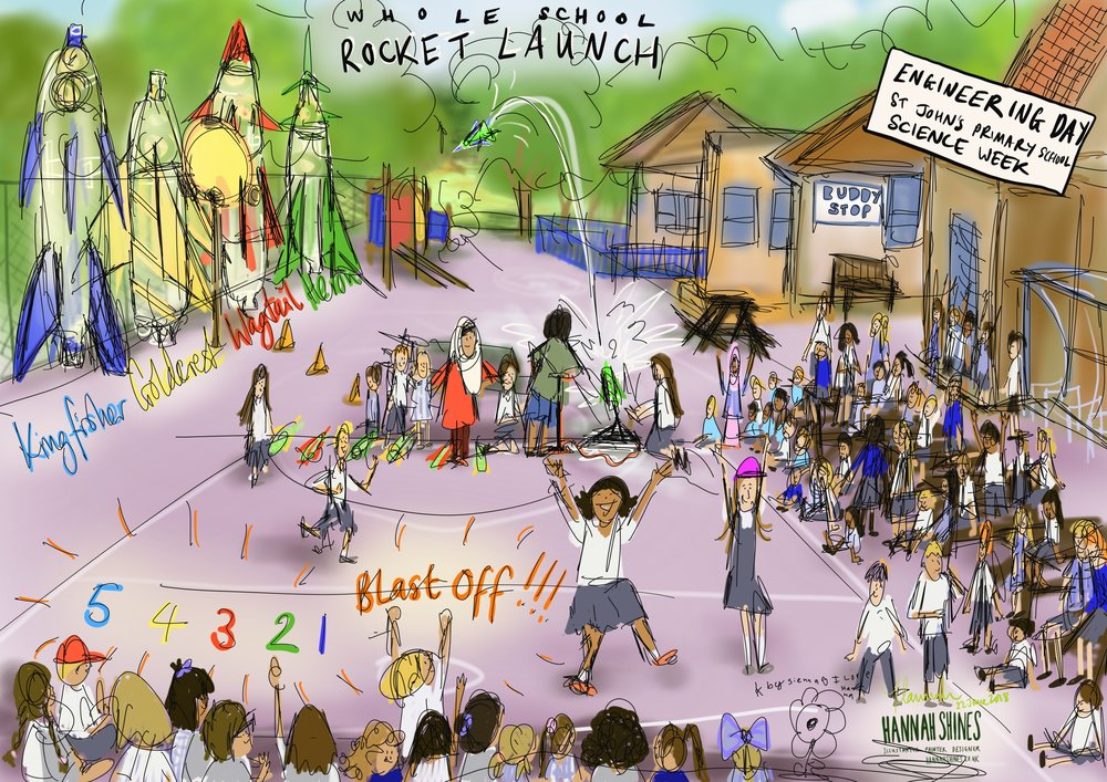 Live sketching - Book me for your event or celebration to visually capture its essence. My sketches are produced on site and can either be used immediately (such as this cartoon example) or worked up into a more refined piece following the session.Depending on the nature of the task I can work digitally, on paper or paint. The products that can be requested are illustrations, scribing (visual note-taking), graphics or storyboarding.This method is especially useful in settings where photographs or video are not always suitable e.g. in schools.