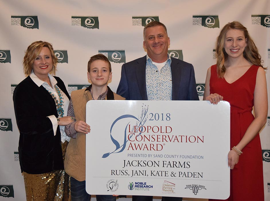 Russ and Jani Jackson of Mountain View, Oklahoma, received the 2018 Leopold Conservation Award