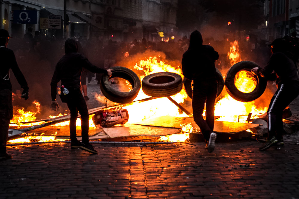 In the evening of July 7th, violent rioters light fires in the streets of Hamburg's Schanzenviertel, a stronghold of the left wing autonomous scene.