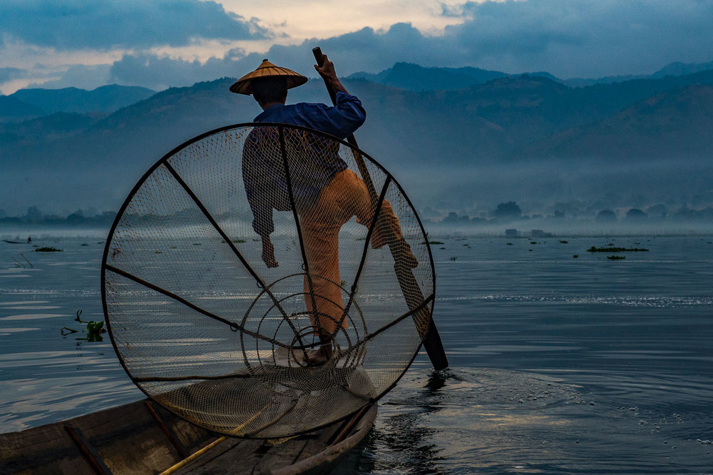 Fisherman in the morning, Inle Lake, Myanmar.