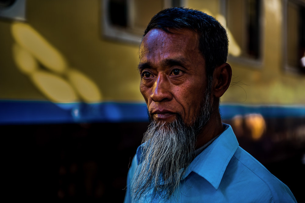 Man at central train station. Yangon, Myanmar.