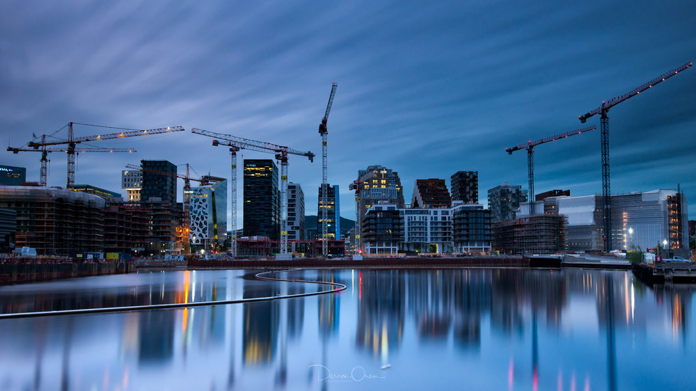 The current skyline of Oslo with all the construction