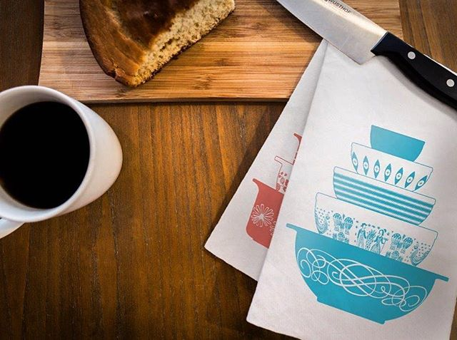 New Product Alert!  We are now taking pre-orders for our new #pyrex tea towels which come in either blue or pink.  Get yours in our #Etsy shop today (link in bio) #newstuff #poconomodern #homegoods #teatowels #whynot #graphicdesign #pyrexia #pyrexlove