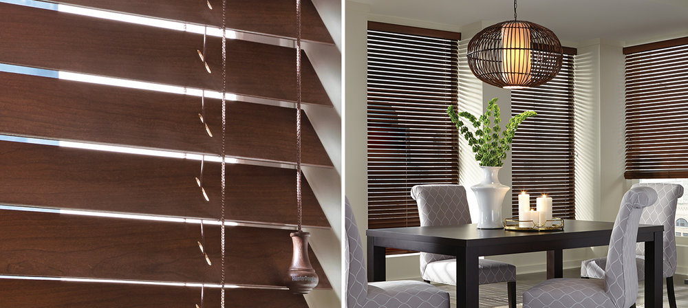 Wood / Faux wood blinds   Whether fine real wood or Faux Wood, these Blinds provide a satisfying feel of a substantial Window furnishing look and look exceptionally classy doing it. Adds dimension with a smooth, natural, or wire brush finish. Great look at very budget friendly prices.