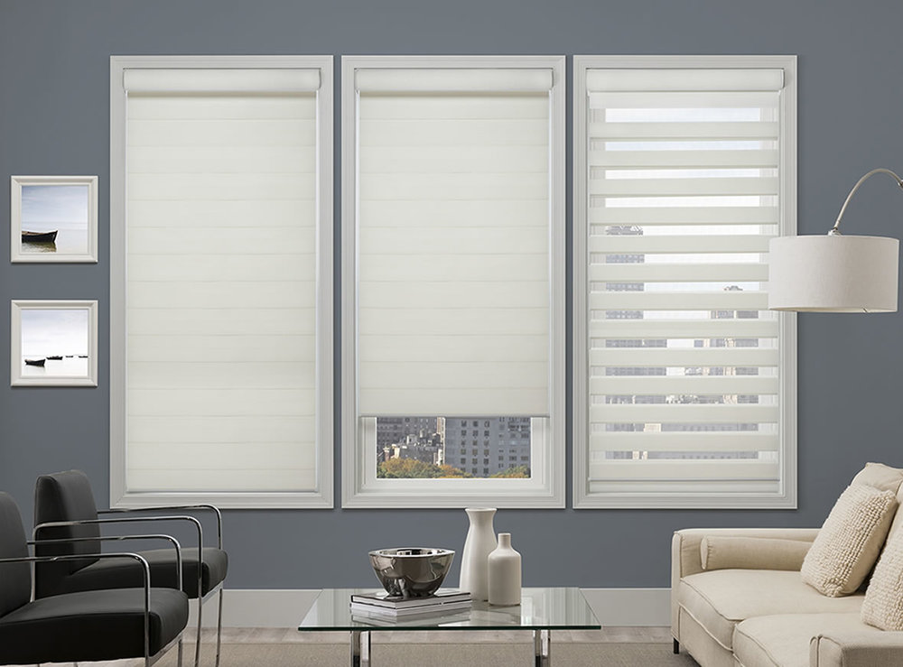 Sheer Shades (Vertical & Horizontal)   Blending the beauty of the softness of a sheer fabric with the function of a blind. Filters light while providing security and privacy.