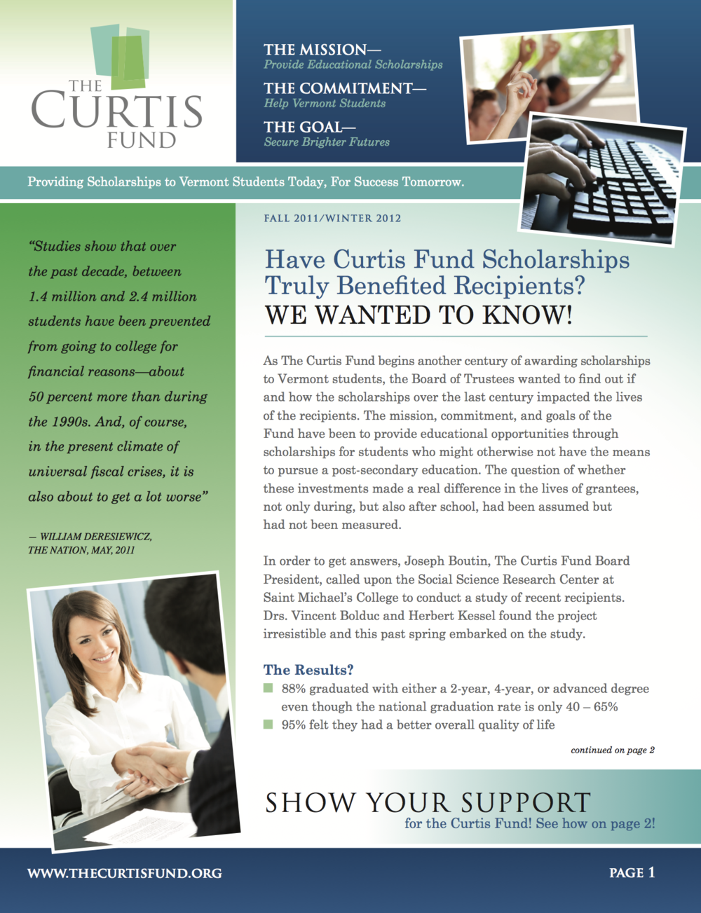 curtis fund winter 2011/12 newsletter cover