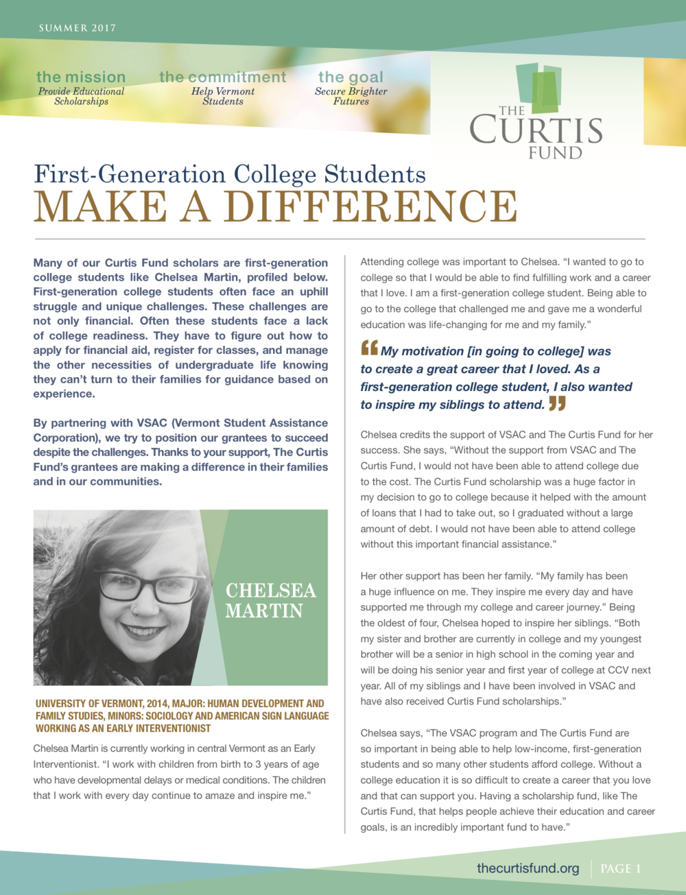 curtis fund summer 2017 newsletter cover