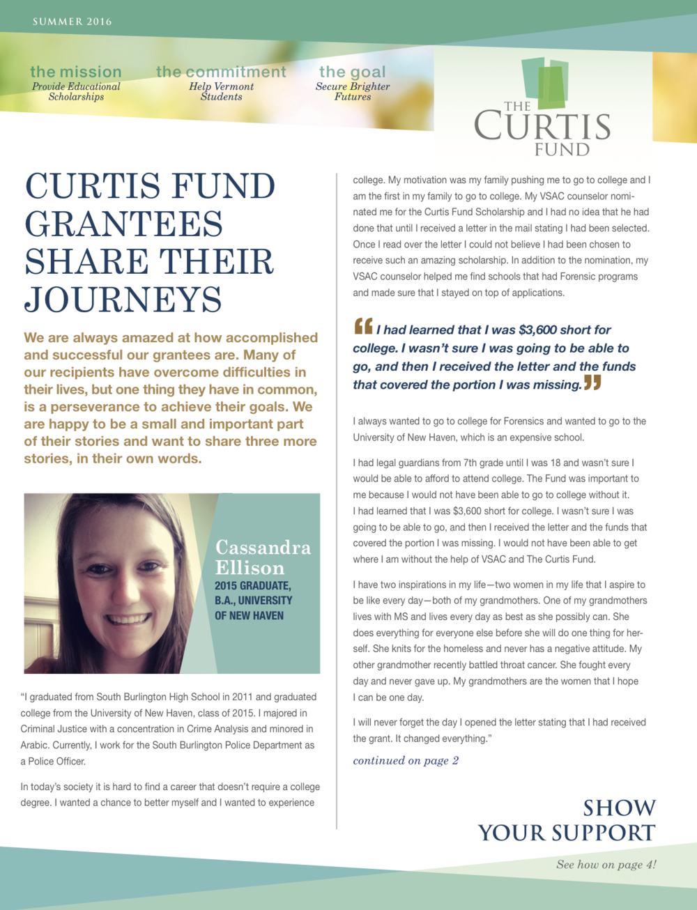 summer 2016 curtis fund newsletter cover