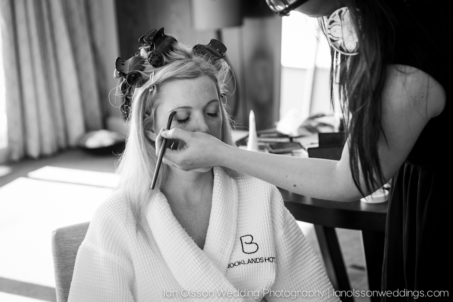 Getting ready for her wedding at Brooklands Hotel in Weybridge Surrey