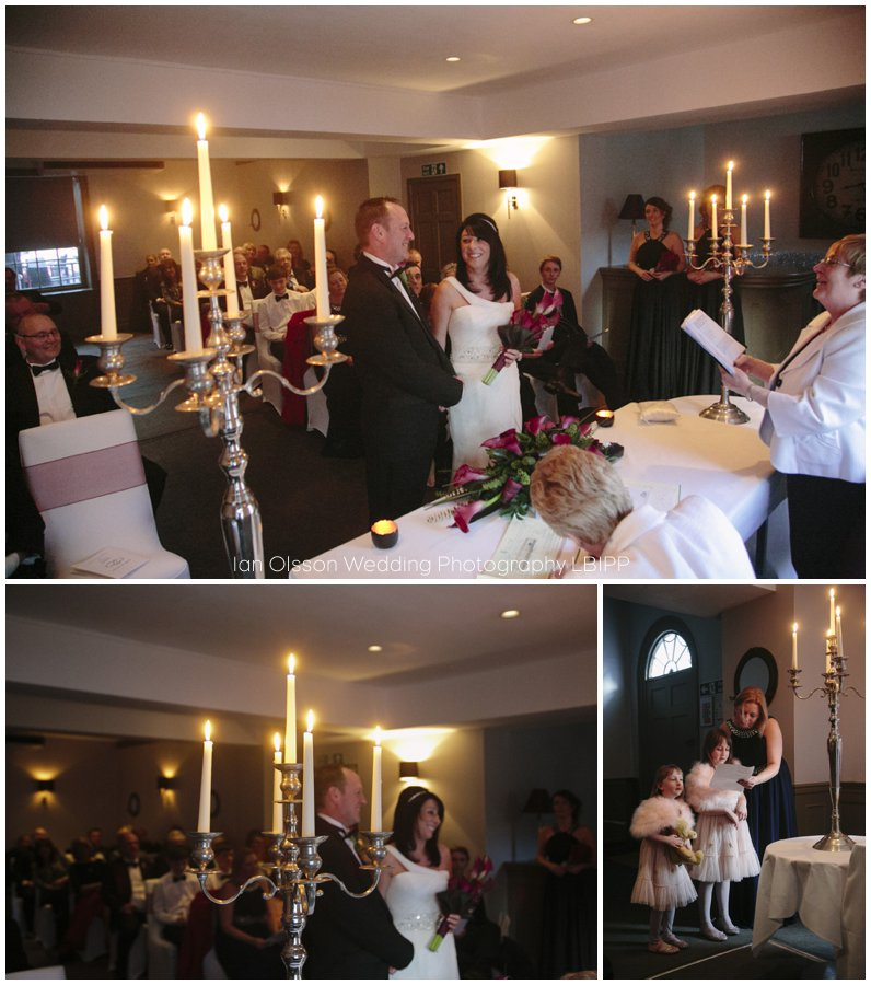 Candle lit winter wedding ceremony at the Ship Hotel in Chichester