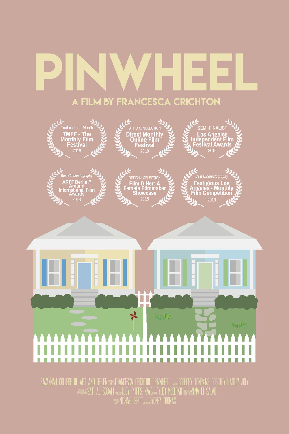 Around International film festival (Berlin)-'Best Cinematography' - Year: 2018Film: PinwheelRole: Director of PhotographyIn a quest to find a new love, John turns to his lawn decoration in the hope of wooing his neighbor.