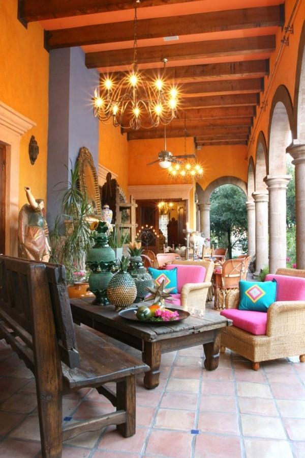 Mexican Interior Design Terrace Design Wall Paint Orange