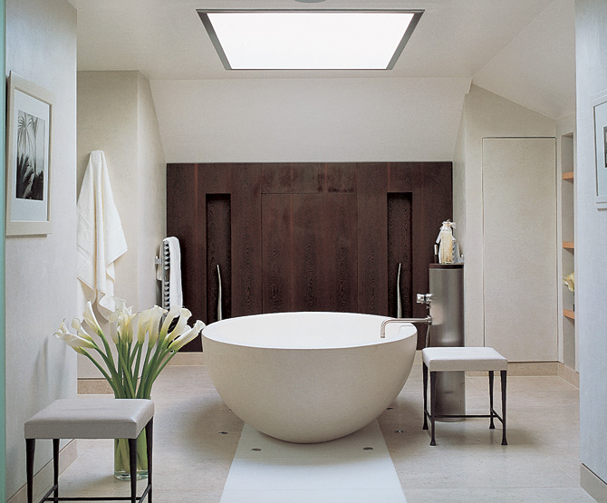free standing tub, bathroom focal point, bathroom remodel, bathroom skylight