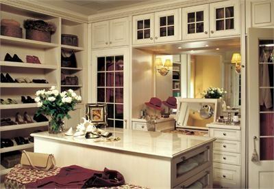 closet with makeup vanity