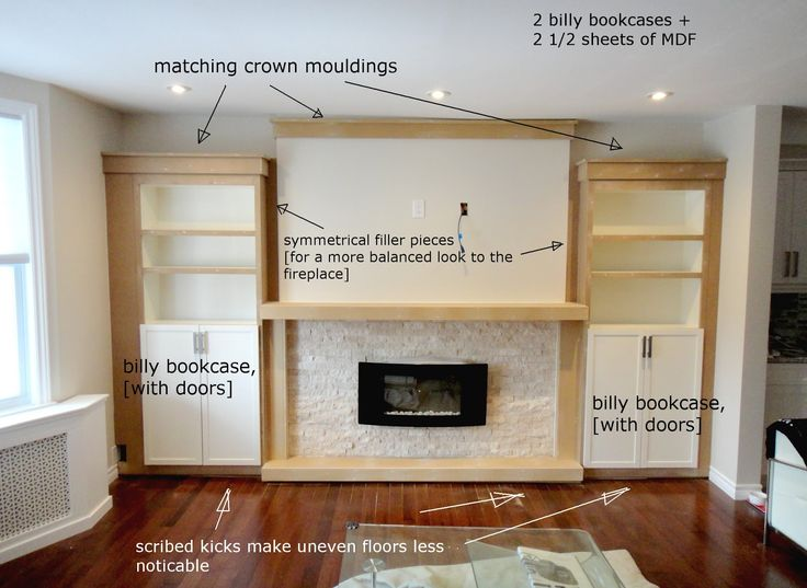 builtin book case fireplace