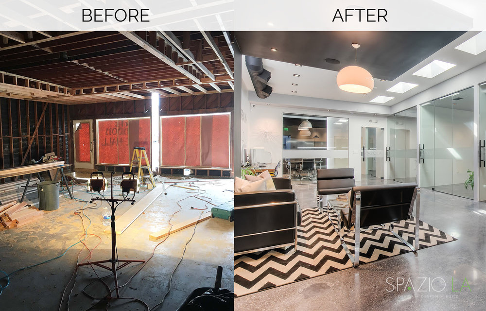 Before and after of Spazio La's new office