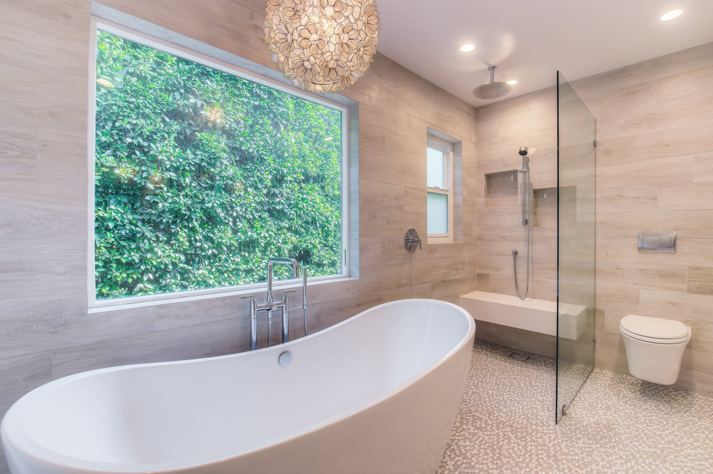 Modern spa master bathroom in West LA.