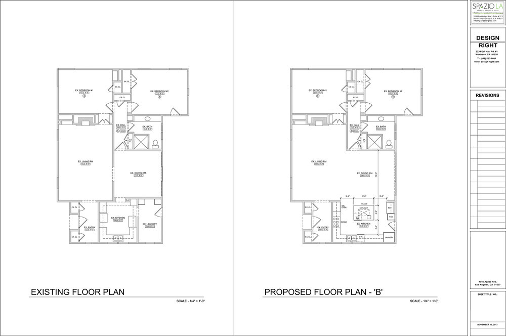 On the left, floor plan of kitchen before remodel. On the right, new floor plan chosen by client incorporating the kitchen, laundry room, dining room and living room.