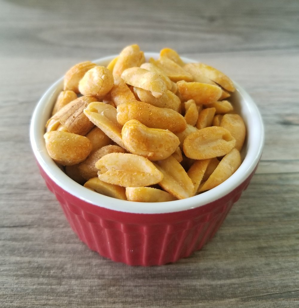 Carolina Cajun - The perfect level of heat for maximum snacking.Our foods are processed in a kitchen that does and could contain milk, eggs, soy, nuts (including: peanuts, tree nuts), wheat, and corn.